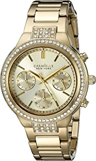 Caravelle New York Women's 44L179  Swarovski Crystal  Gold Tone Watch