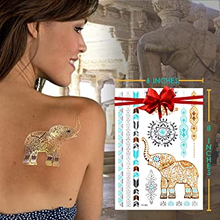 Metallic Temporary Tattoos for Women – 6 Sheets of Premium, Long-Lasting Silver & Gold Fake Tattoos & Multicolor Jewelry Tattoos with Hindu Motif – Easy to Apply & Remove!
