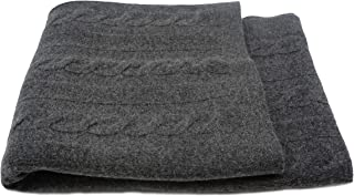 State Cashmere Cable Knit Throw Blanket Merino Wool Cashmere Extra Soft Home Accent Bed Spread Oversized Wrap • 60 x 50 Inches