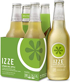 IZZE Sparkling Juice, Apple, 12 oz Glass Bottles, 4 Count