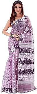 SareesofBengal Women's CottonSilk Handloom Jamdani Dhakai Saree Lavender