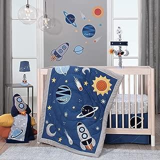 Lambs & Ivy Milky Way Space Galaxy 4-Piece Baby Nursery Crib Bedding Set - Blue/Gray
