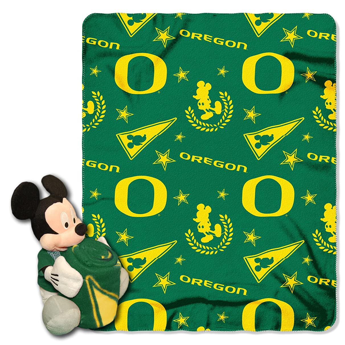 The Northwest Company Officially Licensed NCAA Co Disney's Mickey Character Pillow and Fleece Throw Blanket Set