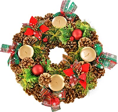 """Home-X Shimmering Pinecone Christmas Wreath Candle Holder, Artificial Advent Wreath, Winter Home Decorations, (15"""" Diameter)"""