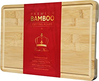 Wood Cutting Boards for Kitchen Bamboo Cutting Board Butcher Block with Handles & Juice Groove - Reversible Thick Chopping...