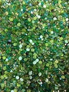 Fire Polished 4mm Czech Glass Beads combination colors mixed 600 beads packs by Modebeads. (Greens)