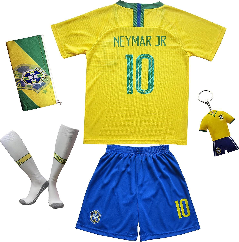 KID BOX Brazil  10 Neymar JR. Kids Home Soccer Jersey & Shorts Socks Set Youth Sizes