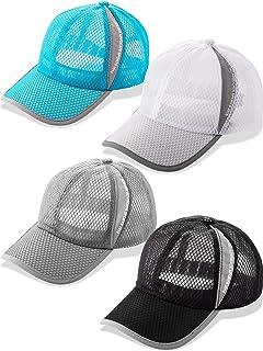 4 Pieces Quick Dry Baseball Cap Adjustable Mesh Lightweight Tennis Hat Running Sport Cap Outdoors Summer