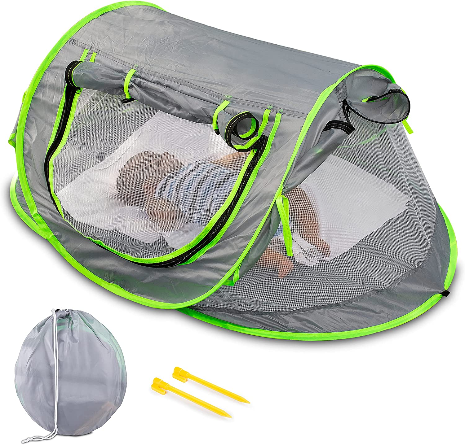 Zento Deals Baby Pop Up Tent - Portable Sunshade Foldable Travel Tent - Baby Camping Bed with Mosquito Net – UV Protection UPF 50+ Sun Shelters for Infants - Sun Shade for Girls Boys