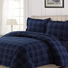 Tribeca Living OXPL170QUILTQU Quilt Sets, Queen, Oxford Plaid