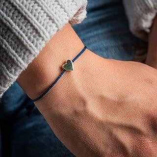 Made by Nami Filigranes Kordel-Armband mit Anhänger - Freundschaftsarmbänder Geburtstagsgeschenk beste Freundin - Herz-Arm...