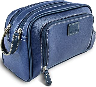 Vetelli Gio Leather Toiletry Bag for Men - Dopp Kit - Handmade for Travelling Vacations and Adventures (Blue)