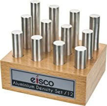 Aluminum Masses for Density Exploration, Set of 12 Cylinders with Wooden Holder, Varied Lengths and 0.5