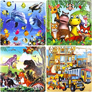 Puzzles for Kids Ages 3-8, 4 Pack Wooden Jigsaw Puzzles 100 Pieces Preschool Educational Learning Toys Set for Boys Girls