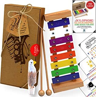 Wooden Xylophone for Kids: Best Perfectly Sized Musical Toy for Toddlers - With Clear Sounding Metal Keys Two Child-Safe W...