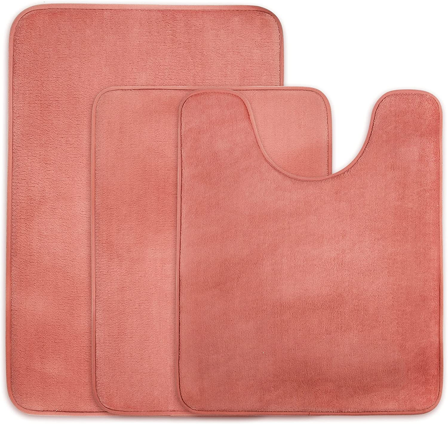 Memory Quality inspection Foam Bath Mat Toilet Set of C Pink Coral Ranking TOP5 Deep 3 Piece -