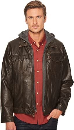 Faux-Leather Trucker with Jersey Hood and Fleece Lining