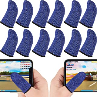 12 Pieces Gaming Finger Sleeve Controller Touch Screen Finger Sleeve Anti-Sweat Breathable Game Thumb Sleeve for Mobile Ph...