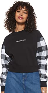 Calvin Klein Jeans Women's Buffalo Check Sleeve Crop Cn Heavyweight Knits