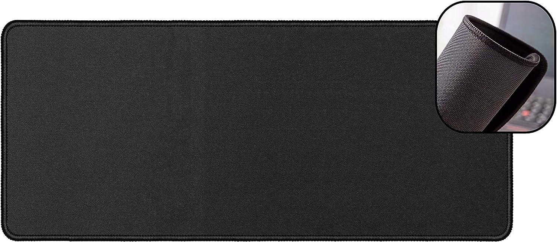 AhGuwa - Alfombrilla Ratón Bordes Cosidos, Alfombrilla de Bordes Reforzados, Superficie de Fibra Extrafina con Base Antideslizante. Suave y Cómoda, Negro, 300x700x2mm