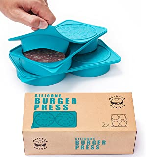 MeisterBurger Silicone Burger Press - Non-Stick FDA Approved Burger Patty Mold Set - Perfect Patties Maker - Freezer Container, Baby Food Storage - Dishwasher Oven Safe, Kid Friendly - [Set of 2]