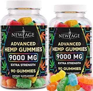 New Age Naturals Advanced Hemp Gummies 9000mg Extra Strength- 2 Pack - 180ct - 100% Natural Hemp Oil Infused Gummies - Veg...