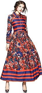 Women's Vintage Paisley & Floral Maxi Shirt Dress Causal A-line Long Dress