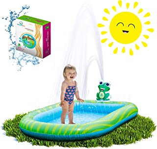 Splashin'kids 3 in 1 Inflatable Sprinkler Pool Water Park For Kids Toddlers Kiddie Wading Swimming Outdoor Play Mat Splash Pad 1,2,3,4,5,6 Year old Boys Girls LARGE (SMALL and LARGE SIZE)