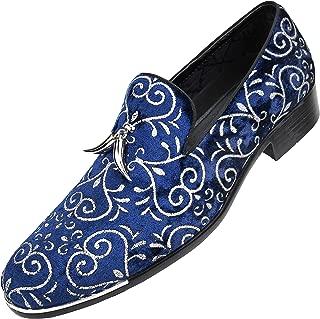 Men's Velvet Slip-On Smoking Slippers Embellished with Metallic Sparkle Detail and Horn Tassels