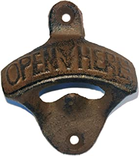 Rustic Farmhouse Wrought Iron Vintage Wall Mounted Beer Bottle Opener, Brownish