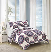 Chic Home Ibiza 2 Piece Duvet Cover Set Super Soft Reversible Microfiber Large Printed Medallion Design with Geometric Patterned Backing Zipper Closure Bedding with Decorative Shams, Twin Navy