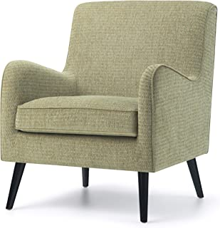 Simpli Home Dysart 28 inch Wide Mid Century Modern Arm Chair in Pear Green Fabric