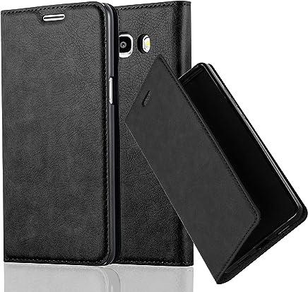 Cadorabo Hülle für Samsung Galaxy J5 2016 (6) - Hülle in Nacht SCHWARZ – Handyhülle mit Magnetverschluss, Standfunktion und Kartenfach - Case Cover Schutzhülle Etui Tasche Book Klapp Style