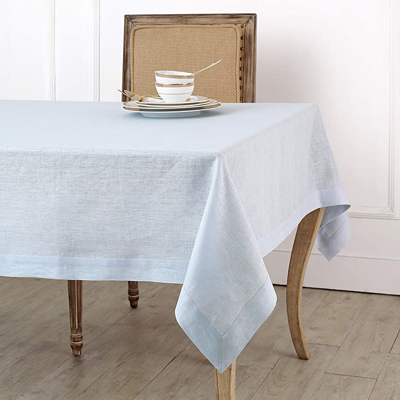 Solino Home 100% Linen Tablecloth - 60 x 120 Inch Light Blue, Natural Fabric, European Flax - Athena Rectangular Tablecloth for Indoor and Outdoor use