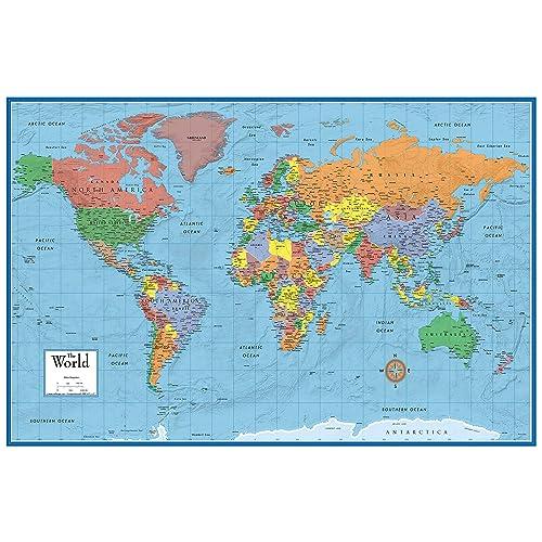 Flat Map Of The World Flat Map Of The World: Amazon.com