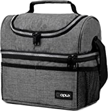 Insulated Dual Compartment Lunch Bag for Men, Women   Double Deck Reusable Lunch Box Cooler with Shoulder Strap, Leakproof...