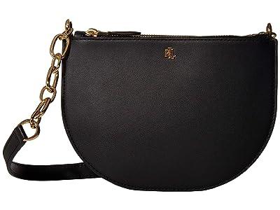 LAUREN Ralph Lauren Super Smooth Leather Sutton 22 Crossbody Medium (Black) Handbags