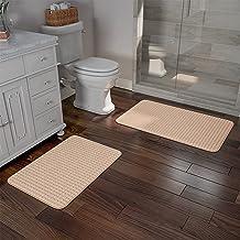 2 pc Memory Foam Bath Mat Set by Bedford Home - Woven Jacquard Fleece - Taupe