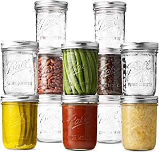 Ball Wide Mouth Mason Jars (16 oz/Capacity) [12 Pack] with Airtight lids and Bands. For Canning, Fermenting, Pickling, Decor - Freezing, Microwave And Dishwasher Safe. Bundled With SEWANTA Jar Opener
