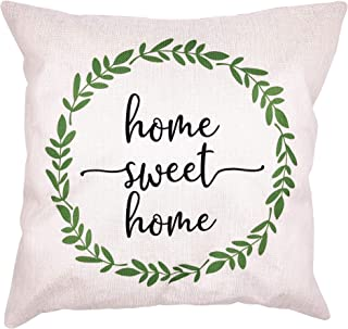 Arundeal 18 x 18 Inch Home Sweet Home Wreath Decorative Square Cotton Linen Throw Pillow Cover