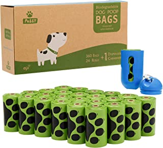 PobbY Dog Poop Bags Biodegradable Unscented, 9x13 Inches Refill Rolls (24 Rolls / 360 Count) Includes Free Dispenser with Carabiner