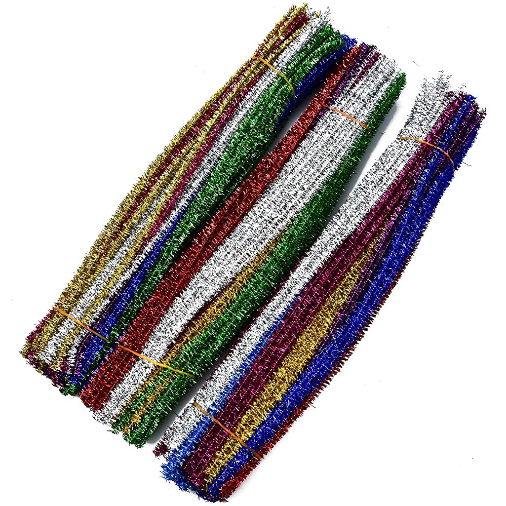 Monrocco 300pcs 10 Colors Glitter Sparkle Pipe Cleaners, DIY Art Craft Decorations Chenille Stems for DIY Craft Projects,Wedding,Home,Party,Holiday Decoration