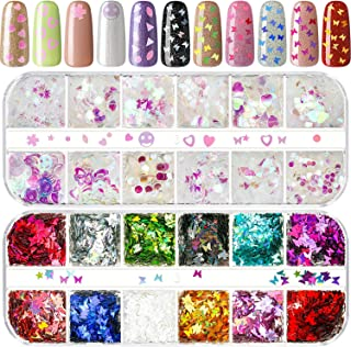 2 Packs Nail Sequins Butterfly Nail Stickers Iridescent Mermaid Glitter Holographic Sparkle Nail Flakes Manicure Nail Art Decorations for Eye Face Body Hair DIY Crafts