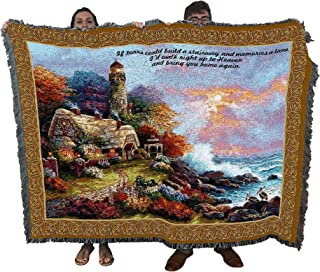 Pure Country Weavers Christian Funeral Gifts, Lighthouse Blanket, Memorial Sympathy Gift & Bereavement Gift for Loss of Mother, Father or Loved One – Healing Thoughts Funeral Blanket (72x54)