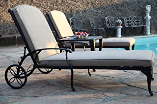 A Pair of 2 Outdoor Patio Aluminum Chaise Lounges Perris Collection CBM1290 PR-19