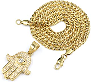 316L Stainless Steel Gold Ancient Hands of Hamsa Pendant w/Cuban Chain