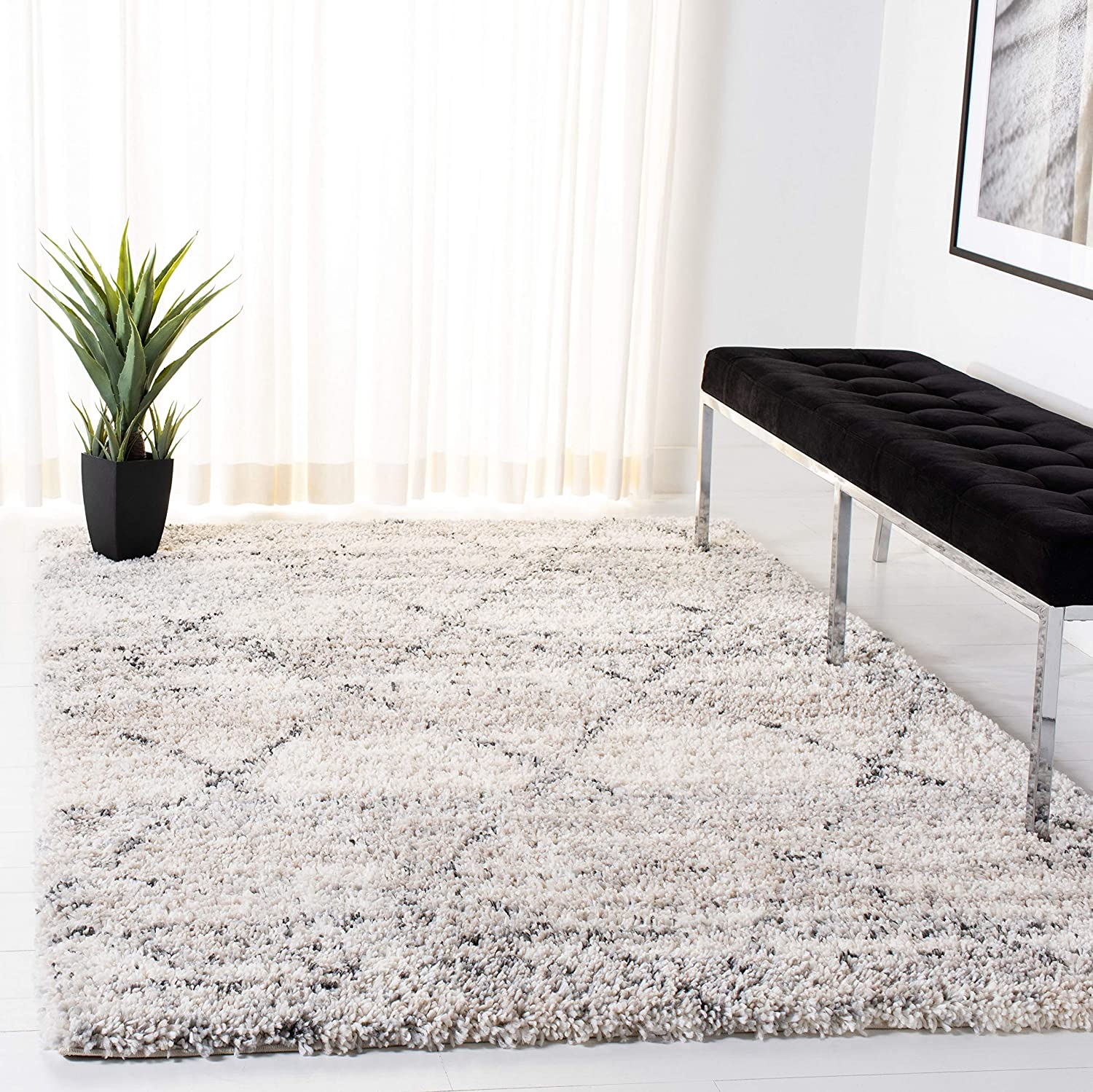 SAFAVIEH Fontana Shag All stores are sold Collection Modern List price Trellis FNT886F Non-Shed