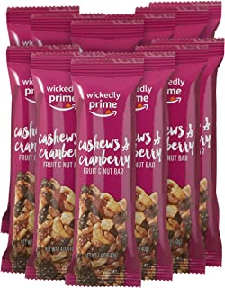 Wickedly Prime Fruit & Nut Bar, Cashews & Cranberry, Gluten Free, Kosher, 1.4 Ounce (Pack of 12)