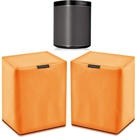 Pair (2) Orange Heavy Duty Outdoor Sonos Speaker Covers - Protection for Your Sonos Play:1, Sonos One & Sonos One SL Speakers - Fits Wall Mounted Speakers