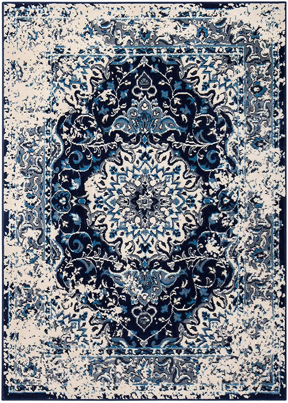 Anji Mountain Brushed Wave Area Rug 3 Blue Sale Special Price Time sale Grey x 5-Feet